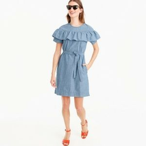 J Crew Edie chambray belted dress